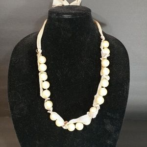 J crew pearl ribbon necklace ivory adjustable